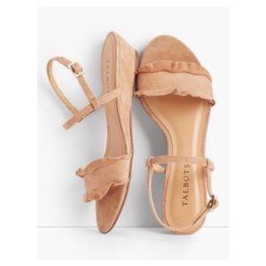 Talbots tan suede ruffle sandals